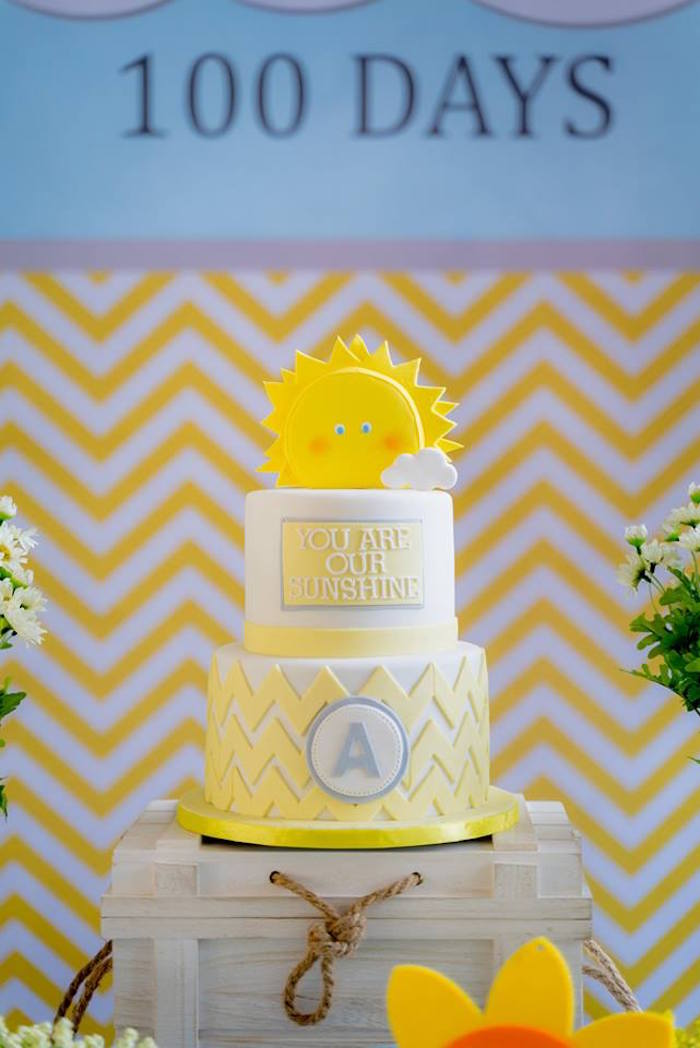 You are my Sunshine Cake from a You are my Sunshine 100 Days Party on Kara's Party Ideas | KarasPartyIdeas.com (16)