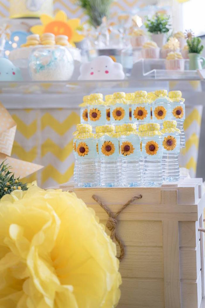 Sunflower Water Bottles from a You are my Sunshine 100 Days Party on Kara's Party Ideas | KarasPartyIdeas.com (14)