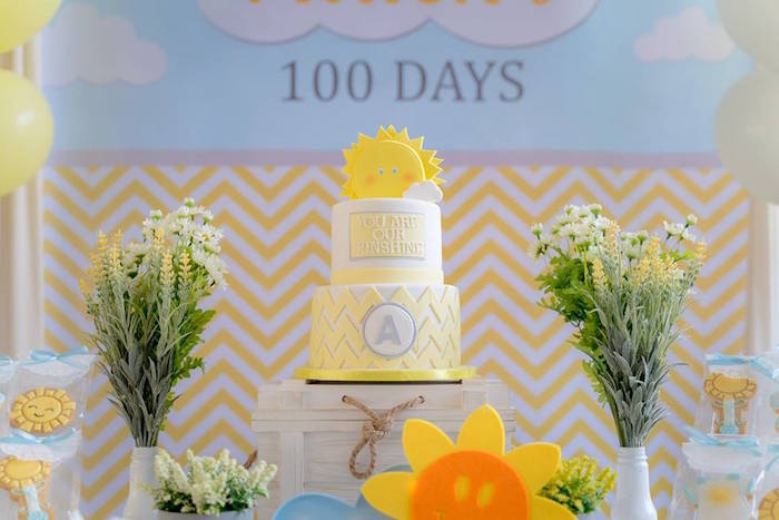 Sunshine Cake Table from a You are my Sunshine 100 Days Party on Kara's Party Ideas | KarasPartyIdeas.com (11)
