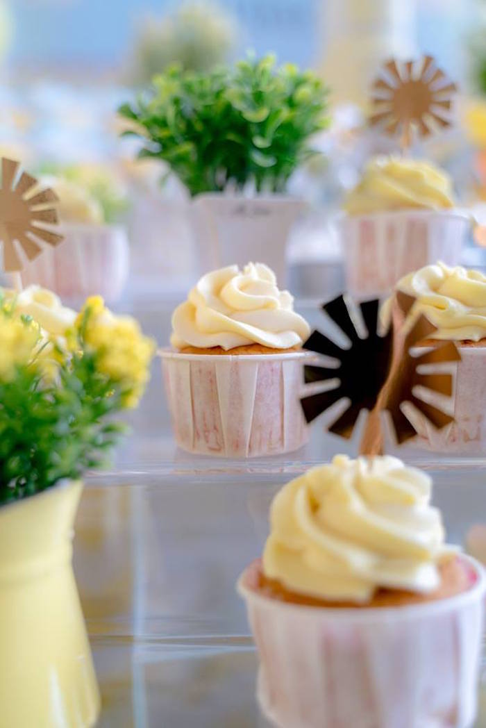 Yellow-iced Vanilla Cupcakes from a You are my Sunshine 100 Days Party on Kara's Party Ideas | KarasPartyIdeas.com (10)