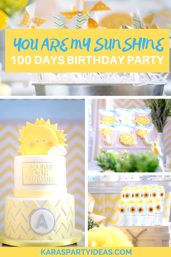 You are my sunshine 100 days Birthday Party via Kara's Party Ideas - KarasPartyIdeas.com
