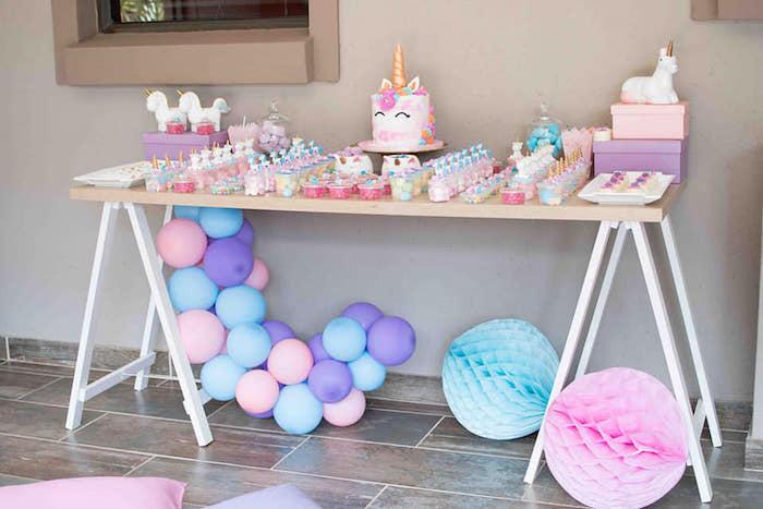 Unicorn Themed Dessert Table from a Magical Unicorn Birthday Party on Kara's Party Ideas | KarasPartyIdeas.com