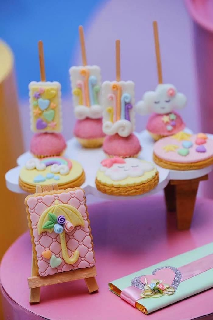 "Umbrella Cookie + Rain Themed Sweets from a ""Chuva de Amor"" Rain Love Birthday Party on Kara's Party Ideas | KarasPartyIdeas.com (15)"