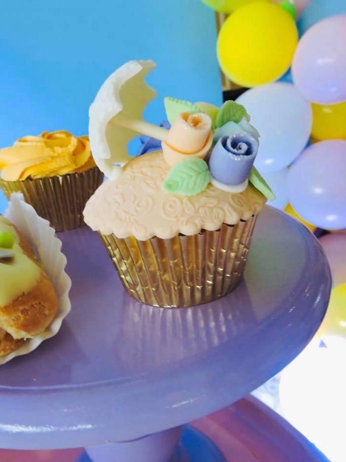 "Floral Umbrella Cupcake from a ""Chuva de Amor"" Rain Love Birthday Party on Kara's Party Ideas | KarasPartyIdeas.com (10)"