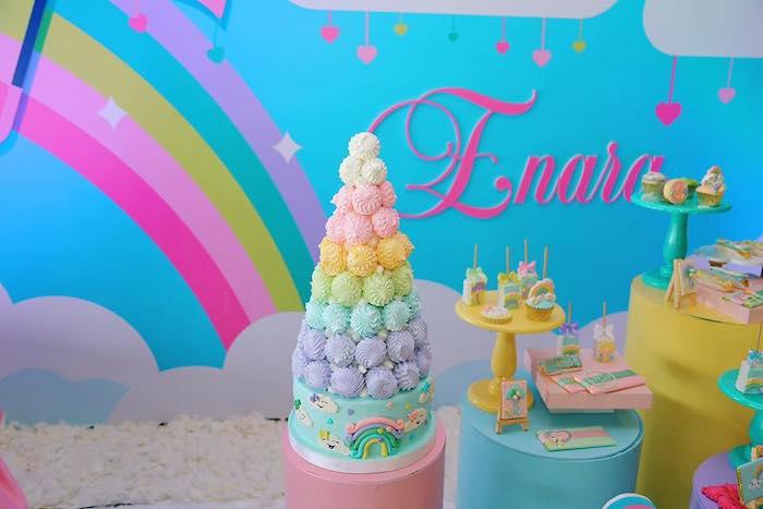 "Meringue Tower Cake from a ""Chuva de Amor"" Rain Love Birthday Party on Kara's Party Ideas | KarasPartyIdeas.com (8)"