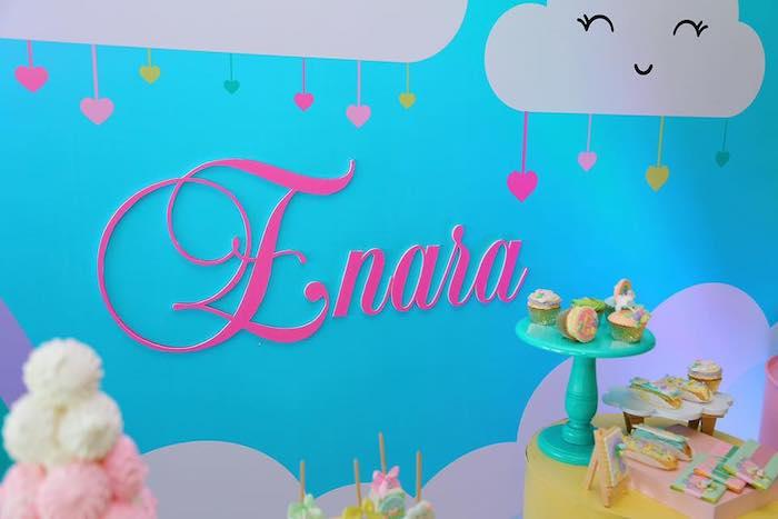 "Cloud Backdrop from a ""Chuva de Amor"" Rain Love Birthday Party on Kara's Party Ideas | KarasPartyIdeas.com (24)"