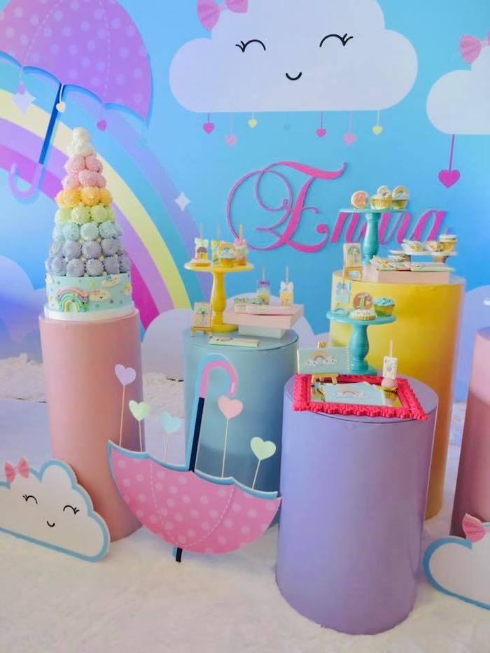 "Pastel Dessert Spread from a ""Chuva de Amor"" Rain Love Birthday Party on Kara's Party Ideas | KarasPartyIdeas.com (23)"