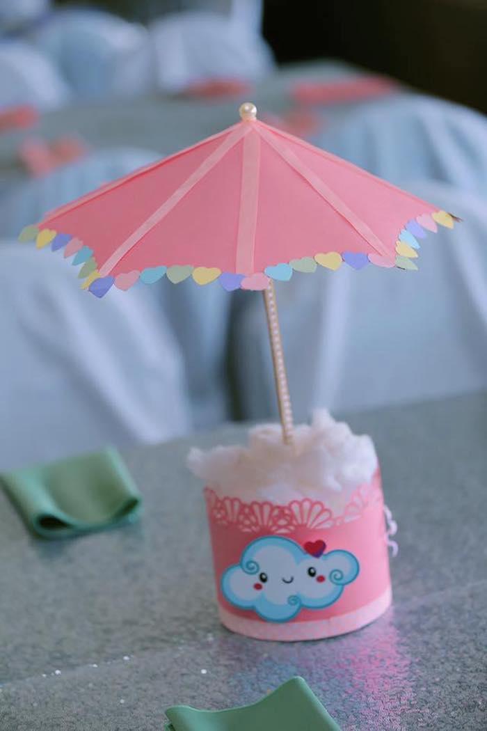 "Umbrella & Cotton Cloud Table Centerpiece from a ""Chuva de Amor"" Rain Love Birthday Party on Kara's Party Ideas | KarasPartyIdeas.com (22)"