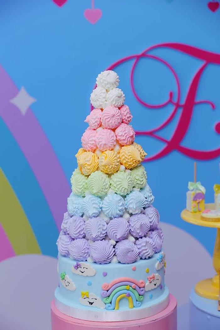 "Rainbow Meringue Tower Cake from a ""Chuva de Amor"" Rain Love Birthday Party on Kara's Party Ideas | KarasPartyIdeas.com (21)"