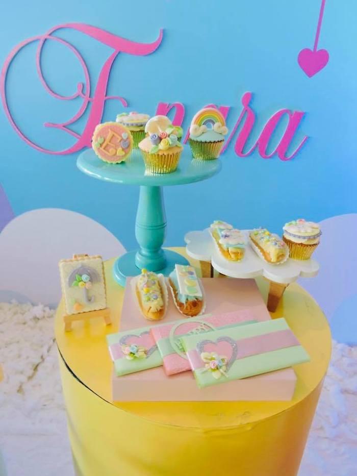"Dessert Pedestal from a ""Chuva de Amor"" Rain Love Birthday Party on Kara's Party Ideas | KarasPartyIdeas.com (20)"