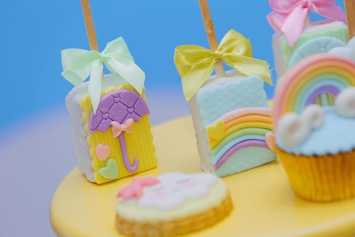 "Rain Themed Rice Krispie Treat Pops from a ""Chuva de Amor"" Rain Love Birthday Party on Kara's Party Ideas | KarasPartyIdeas.com (17)"