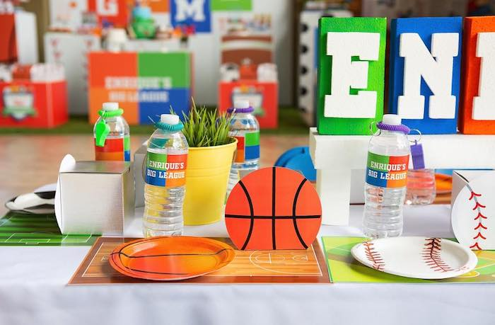 "Sports Themed Table Settings from an ""It's Game Time"" Sports Birthday Party on Kara's Party Ideas 