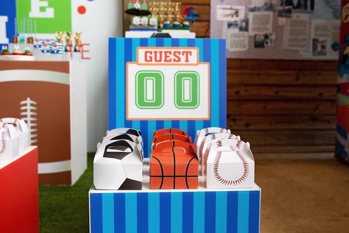 "Sports Themed Gable Boxes from an ""It's Game Time"" Sports Birthday Party on Kara's Party Ideas 