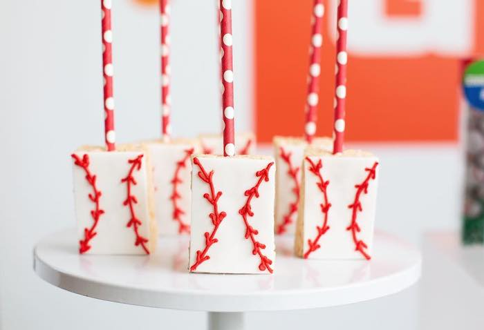 "Baseball Rice Krispie Treats from an ""It's Game Time"" Sports Birthday Party on Kara's Party Ideas 
