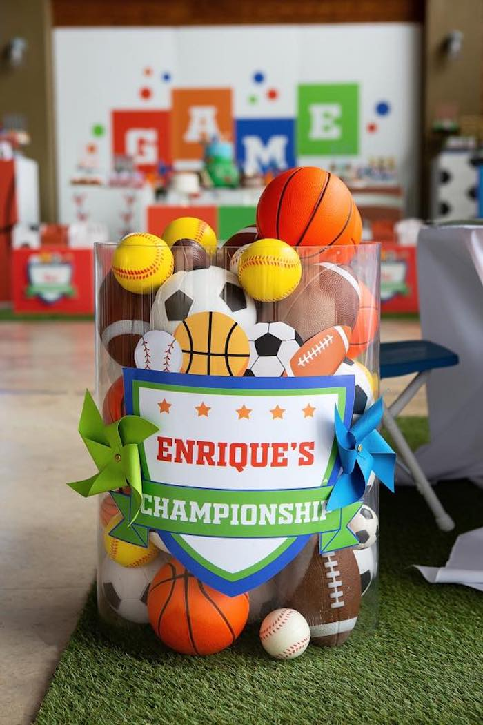 "Sports Balls from an ""It's Game Time"" Sports Birthday Party on Kara's Party Ideas 