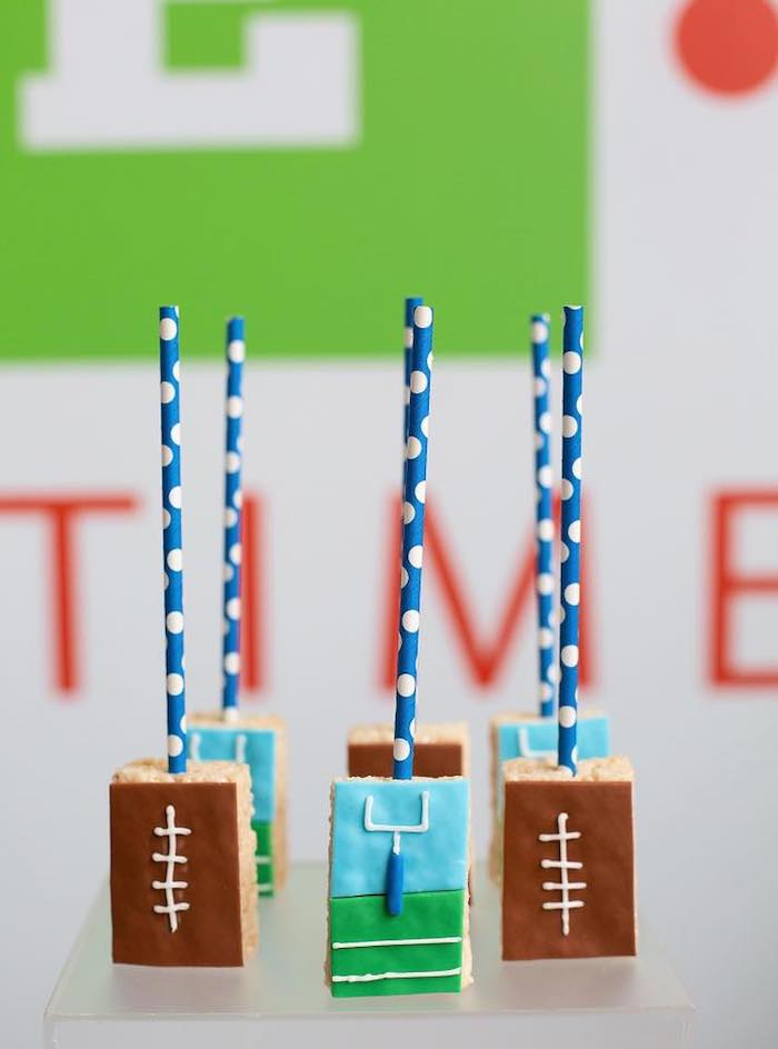 "Football Rice Krispie Treat Pops from an ""It's Game Time"" Sports Birthday Party on Kara's Party Ideas 