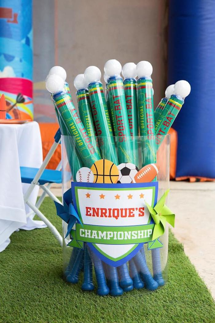 "Favor Bats from an ""It's Game Time"" Sports Birthday Party on Kara's Party Ideas 
