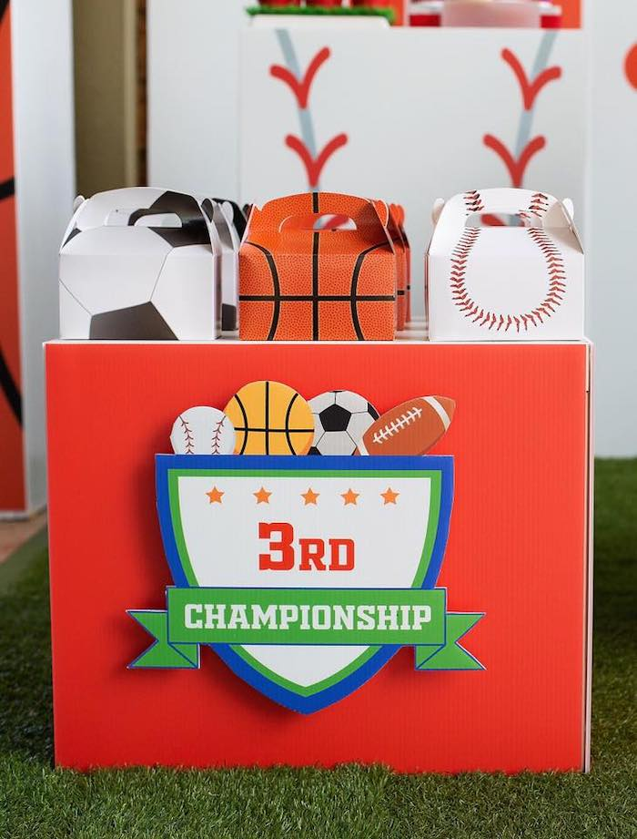 "Gable Sports Favor Boxes from an ""It's Game Time"" Sports Birthday Party on Kara's Party Ideas 