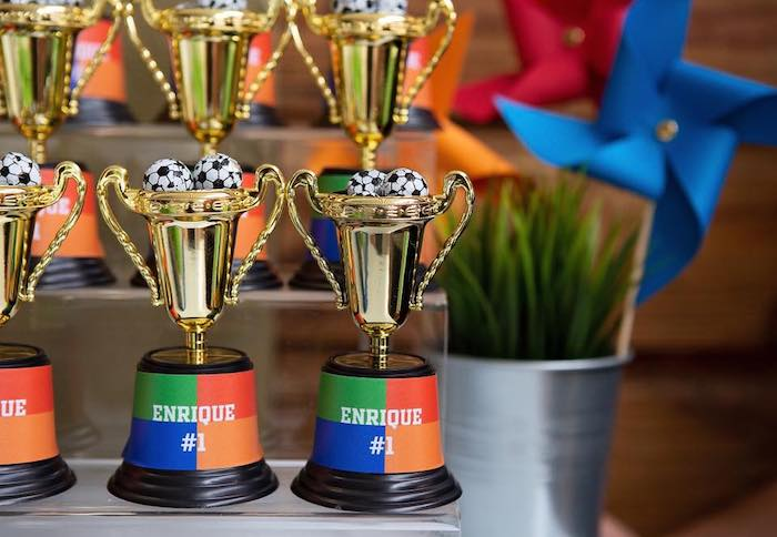 "Trophy Favor Cups from an ""It's Game Time"" Sports Birthday Party on Kara's Party Ideas 