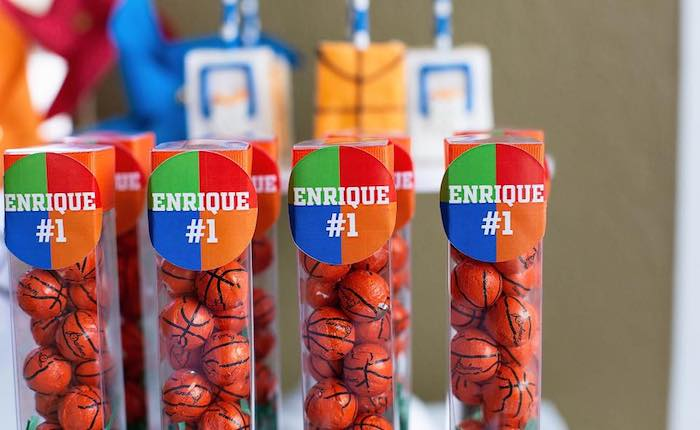 "Chocolate Basketball Favor Tubes from an ""It's Game Time"" Sports Birthday Party on Kara's Party Ideas 