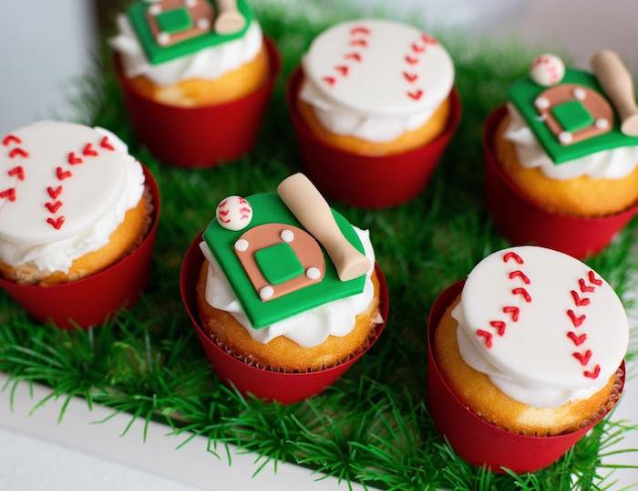 "Baseball Cupcakes from an ""It's Game Time"" Sports Birthday Party on Kara's Party Ideas 