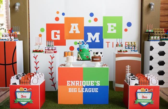 "Sports Themed Dessert Spread from an ""It's Game Time"" Sports Birthday Party on Kara's Party Ideas 
