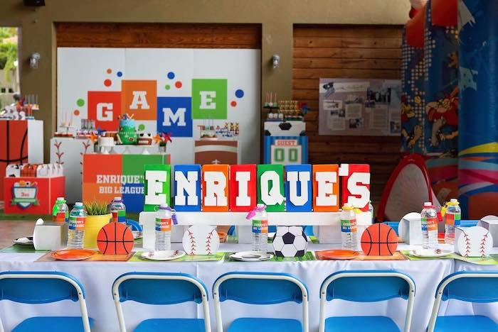 "Sports-inspired Party Table from an ""It's Game Time"" Sports Birthday Party on Kara's Party Ideas 