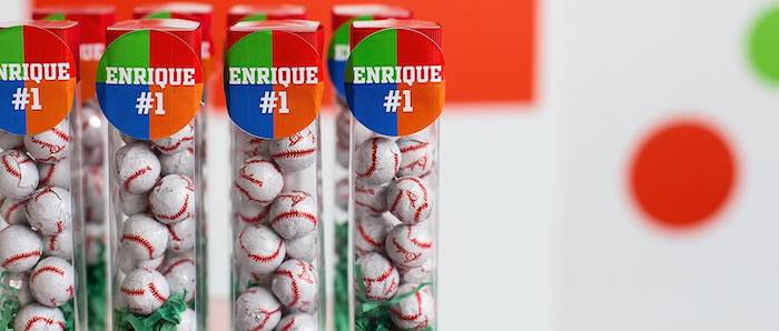 "Chocolate Baseball Favor Tubes from an ""It's Game Time"" Sports Birthday Party on Kara's Party Ideas 