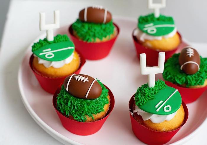 "Football Cupcakes from an ""It's Game Time"" Sports Birthday Party on Kara's Party Ideas 