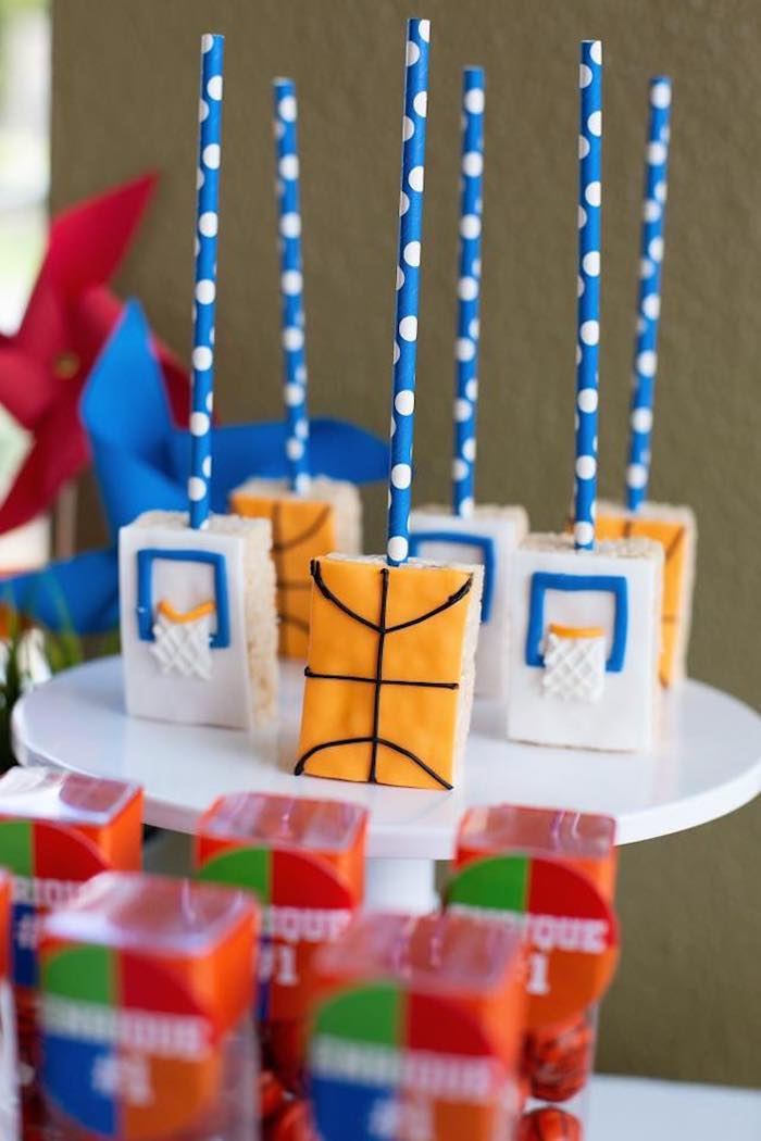 "Basketball Themed Rice Krispie Treat Pops from an ""It's Game Time"" Sports Birthday Party on Kara's Party Ideas 