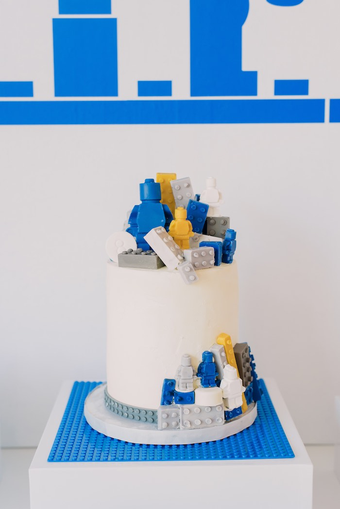 Lego Cake from a Blue & Yellow Modern Lego Birthday Party on Kara's Party Ideas | KarasPartyIdeas.com (26)