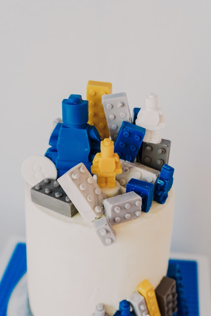 Lego Cake Top from a Blue & Yellow Modern Lego Birthday Party on Kara's Party Ideas | KarasPartyIdeas.com (25)