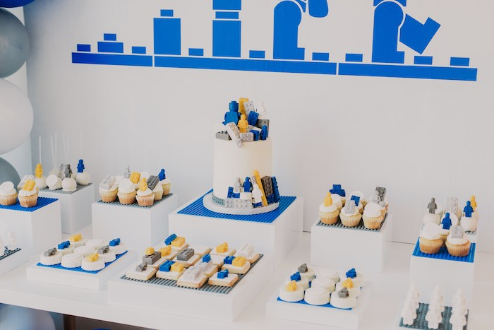 Lego Themed Cake + Dessert Table from a Blue & Yellow Modern Lego Birthday Party on Kara's Party Ideas | KarasPartyIdeas.com (24)