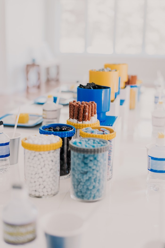 Lego Tape-wrapped Candy Cups from a Blue & Yellow Modern Lego Birthday Party on Kara's Party Ideas | KarasPartyIdeas.com (20)