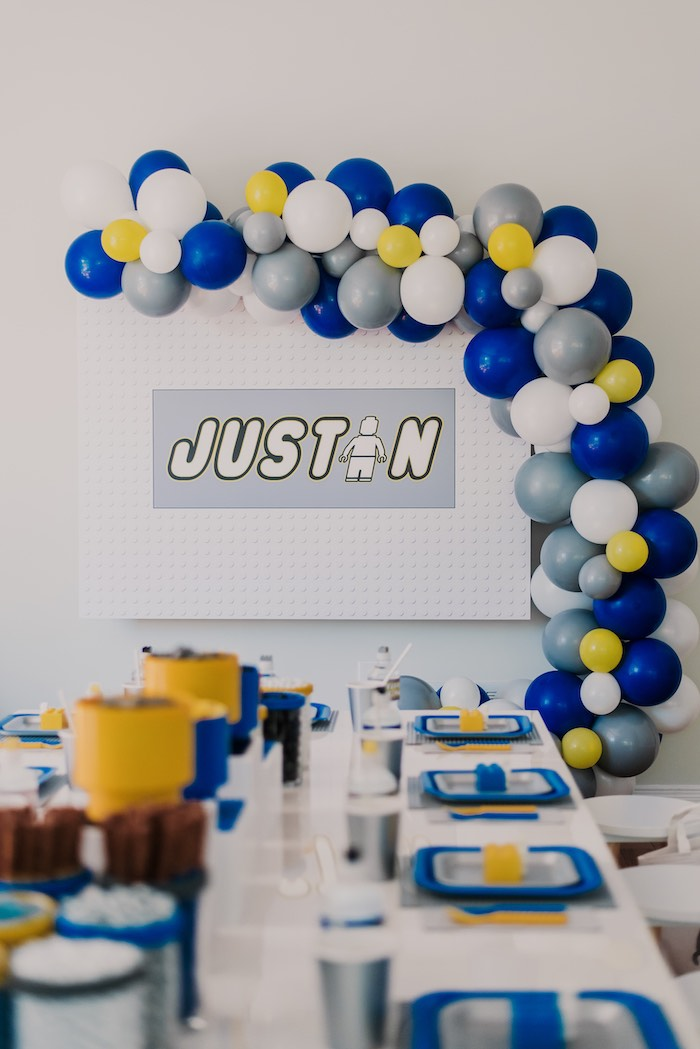 Lego Themed Backdrop + Balloon Garland from a Blue & Yellow Modern Lego Birthday Party on Kara's Party Ideas | KarasPartyIdeas.com (19)