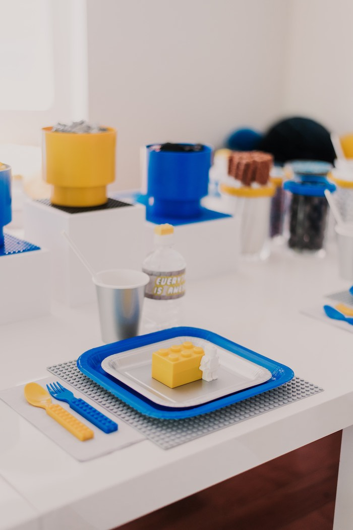 Lego Themed Table Setting from a Blue & Yellow Modern Lego Birthday Party on Kara's Party Ideas | KarasPartyIdeas.com (17)