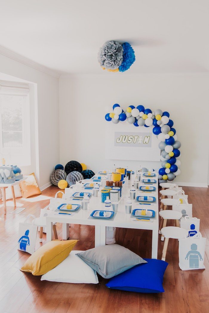 Lego Themed Guest Table from a Blue & Yellow Modern Lego Birthday Party on Kara's Party Ideas | KarasPartyIdeas.com (14)