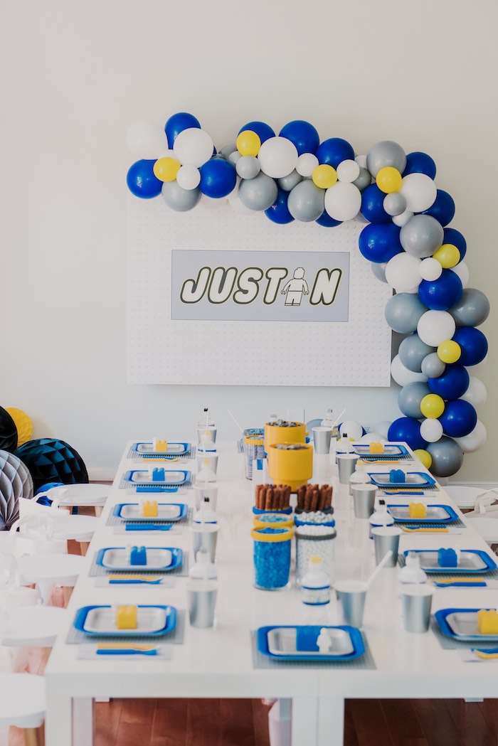 Lego Themed Guest Table from a Blue & Yellow Modern Lego Birthday Party on Kara's Party Ideas | KarasPartyIdeas.com (13)