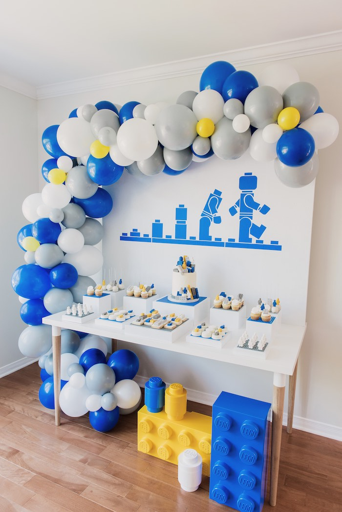 Lego Themed Dessert Table from a Blue & Yellow Modern Lego Birthday Party on Kara's Party Ideas | KarasPartyIdeas.com (12)