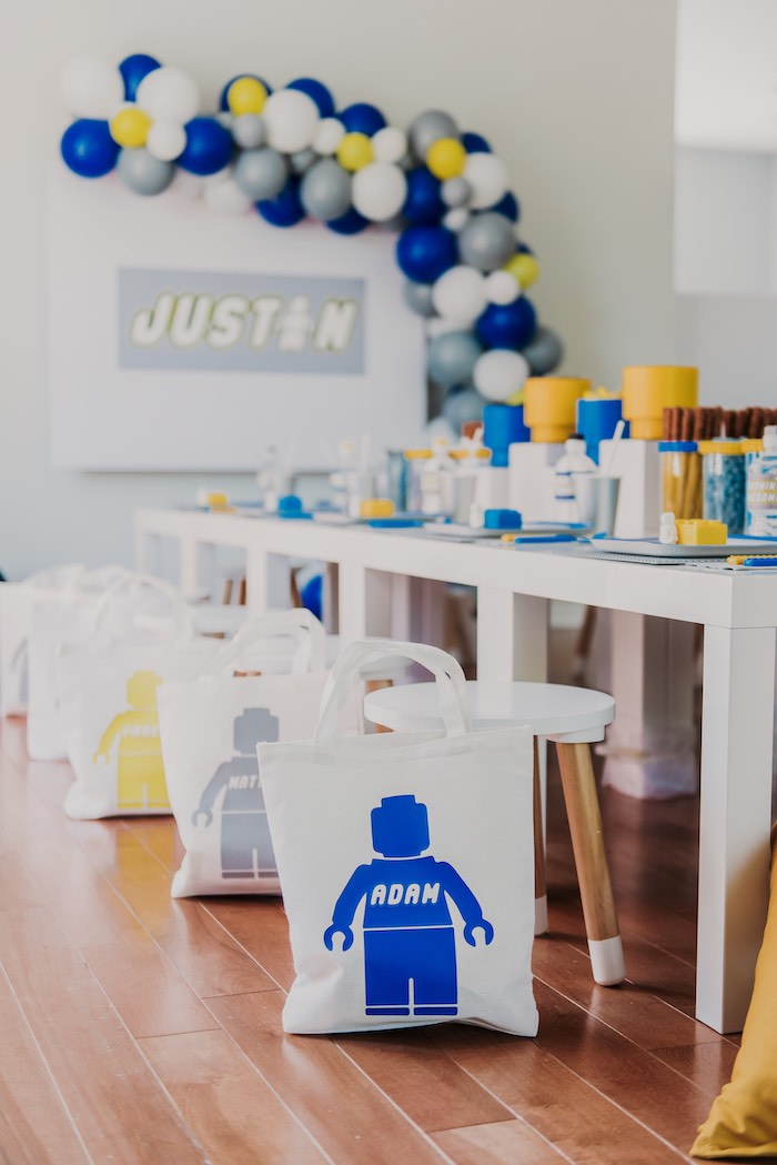 Personalized Lego Gift Bags from a Blue & Yellow Modern Lego Birthday Party on Kara's Party Ideas | KarasPartyIdeas.com (11)