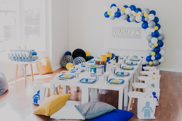 Lego Themed Kid Table from a Blue & Yellow Modern Lego Birthday Party on Kara's Party Ideas | KarasPartyIdeas.com (6)