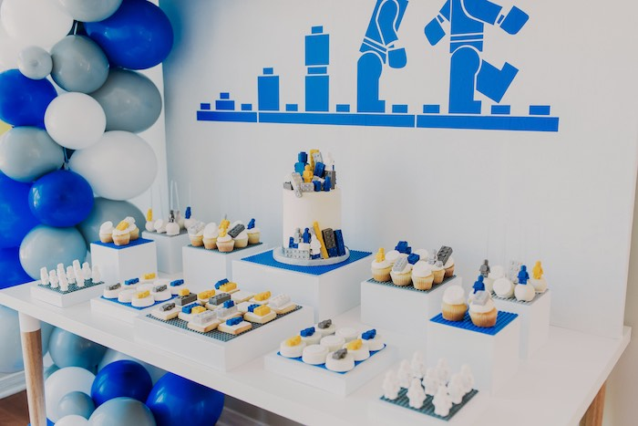 Lego Themed Dessert Table from a Blue & Yellow Modern Lego Birthday Party on Kara's Party Ideas | KarasPartyIdeas.com (32)