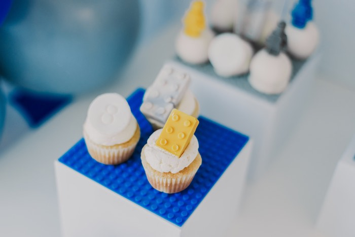 Lego Cupcakes from a Blue & Yellow Modern Lego Birthday Party on Kara's Party Ideas | KarasPartyIdeas.com (30)