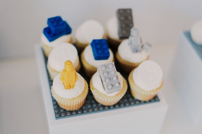 Lego Cupcakes from a Blue & Yellow Modern Lego Birthday Party on Kara's Party Ideas | KarasPartyIdeas.com (28)