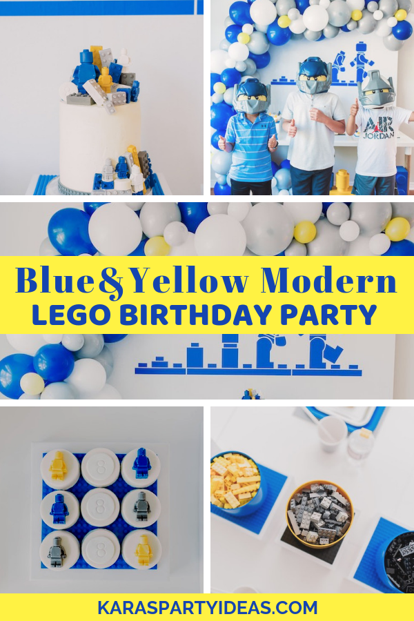 Blue & Yellow Modern LEGO Birthday Party via Kara's Party Ideas - KarasPartyIdeas.com