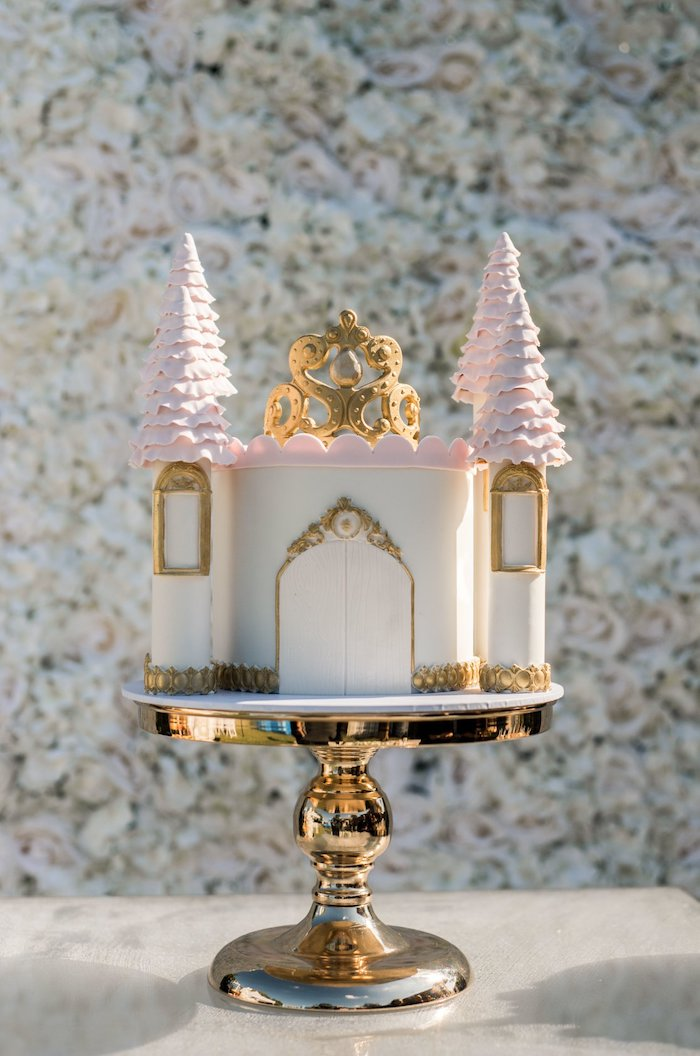 Castle Cake from a Boho Swan Princess Birthday Party on Kara's Party Ideas | KarasPartyIdeas.com (19)