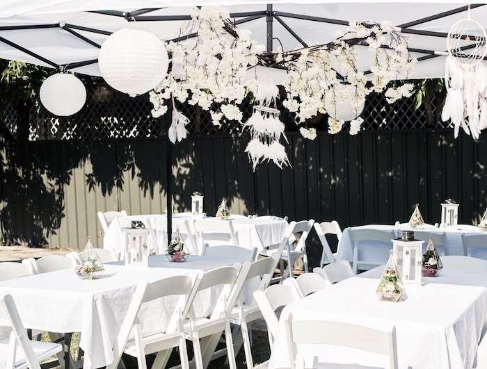 Guest Tables + Tentscape from a Boho Swan Princess Birthday Party on Kara's Party Ideas | KarasPartyIdeas.com (17)