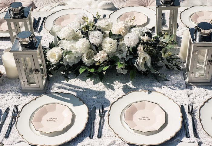 Table Settings + Guest Tablescape from a Boho Swan Princess Birthday Party on Kara's Party Ideas | KarasPartyIdeas.com (15)