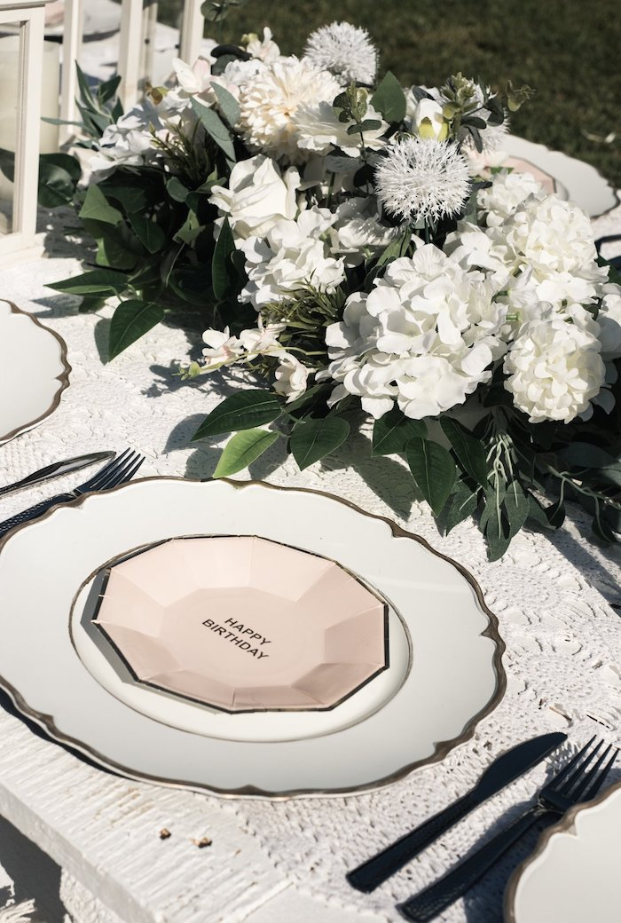 Pink & White Glam Table Setting from a Boho Swan Princess Birthday Party on Kara's Party Ideas | KarasPartyIdeas.com (14)