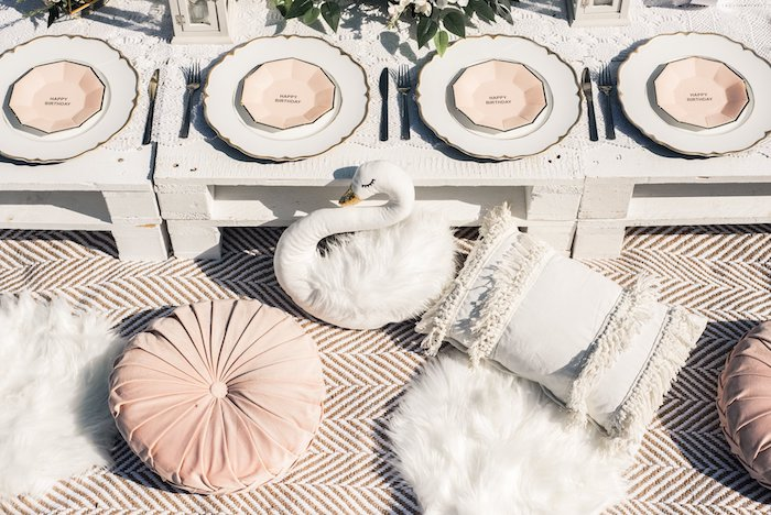 Pillow-seated Pallet Board Table from a Boho Swan Princess Birthday Party on Kara's Party Ideas | KarasPartyIdeas.com (13)